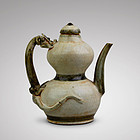 LATE S. SONG/EARLY YUAN DYNASTY DOUBLE GOURD EWER WITH CHILONG HANDLE