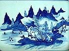 A Fine Blue & White Square Tray With Landscape
