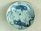 Swatow Blue & White Dish With A Pair Dragons