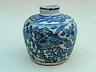 Blue & White Jar With Horses (Late Ming Dynasty)