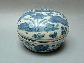 A Fine Blue & White Cover Box With Mandarin Ducks