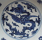 A B/W Winged Dragon Dish