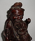 19th Century Chinese Wooden Statue Of Fisherman