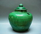 A Good Monochrome Green Glaze Jar With Cover