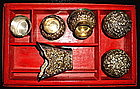 A Rare Strait of Chinese Silver Betel Nut Set With Box