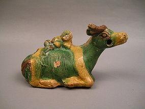 A Rare Ming Dynasty Sancai Glaze With Boy On Buffalo