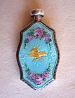 Enamel and Silver Perfume with Roses and Gold Butterfly