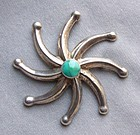American Indian Silver and Turquoise Star Brooch