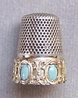 Continental 800 Silver and Turquoise Thimble