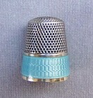 Sterling Silver and Guilloché Enamel Thimble