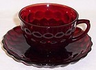 Anchor Hocking Fire King Red BUBBLE CUP and SAUCER