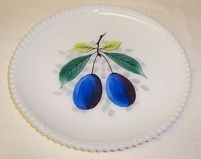 Westmoreland BEADED EDGE Painted PLUMS 7 1/4 PLATE