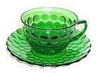 Anchor Hocking Fire King Green BUBBLE CUP and SAUCER