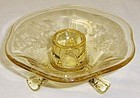 Fostoria Yellow Topaz VERSAILLES 3 TOED CANDLE HOLDER-1