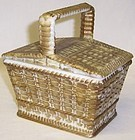Westmoreland Antique Gold Milk Glass 5 In PICNIC BASKET
