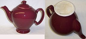 Hall China Burgundy McCORMICK TEAPOT w/LID,Baltimore