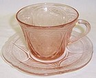 Hazel Atlas Pink ROYAL LACE Depression CUP and SAUCER