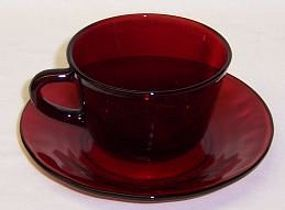Anchor Hocking Fire King ROYAL RUBY CUP and SAUCER