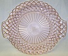 Hocking Pink WATERFORD WAFFLE 10 Inch CAKE PLATE