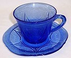 Hazel Atlas Cobalt Blue ROYAL LACE CUP and SAUCER