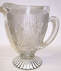 Jeannette Crystal IRIS and HERRINGBONE Footed PITCHER