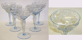5-Tiffin Blue ETCHED 5 7/8 Inch SHERBET CHAMPAGNES