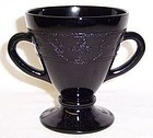 Hazel Atlas Black CLOVERLEAF Footed SUGAR BOWL