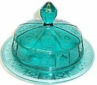 Jeannette Ultramarine DORIC and PANSY BUTTER DISH w/LID