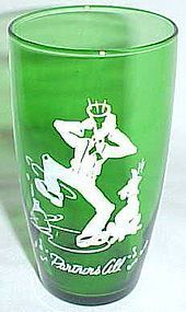 Hocking Fire King Forest Green PARTNERS ALL Tumbler