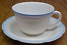Hocking Fire King Vitrock ALICE CUP n SAUCER Blue Trim