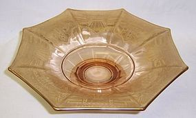 McKee Glass Amber Gold Trim FOOTED 8 Sided COMPORT