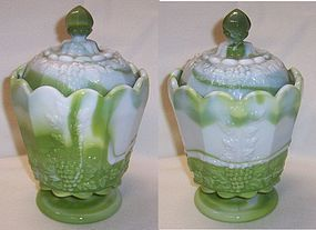 Westmoreland Green Slag PANELED GRAPE Sm CANISTER