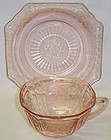 Hocking Pink MAYFAIR Open Rose CUP and CUP RING SAUCER