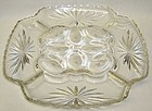 A. Hocking Crystal EARLY AMERICAN PRESCUT Egg PLATE