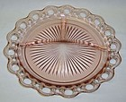 Hocking Pink OLD COLONY LACE EDGE 10 1/2 GRILL PLATE