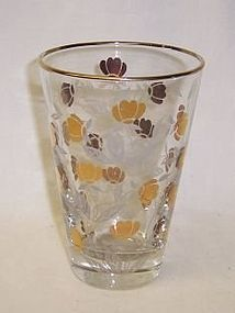 Hall Libbey AUTUMN LEAF 22K Gold 4 5/8 WATER TUMBLER