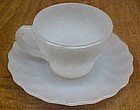 Anchor Hocking White SHELL Demitasse CUP and SAUCER