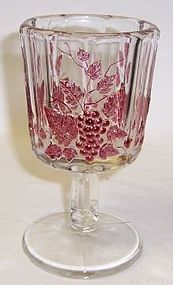 Westmoreland Ruby Flashed PANELED GRAPE 5 3/4 In GOBLET