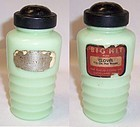 Jeannette Jadeite Ribbed CLOVES SHAKER, Original Label