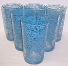 6-Hazel Atlas Crystal with Blue DRIZZLE 5 Inch TUMBLERS