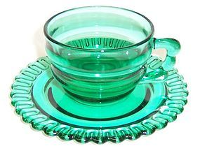 Indiana Depression Teal CHRISTMAS CANDY CUP and SAUCER