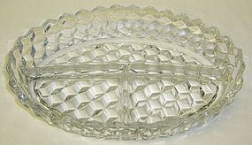 Fostoria Crystal AMERICAN 10 Inch 3 Part OVAL RELISH