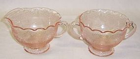 Hazel Atlas Pink FLORENTINE 1 Ruffled CREAMER and SUGAR