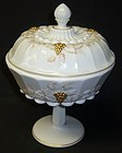 Westmoreland Milk Glass PANELED GRAPE 22k Gold COMPORT