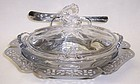 Heisey Crystal QUEEN ANN 1509 LEMON DISH, Floral Etch