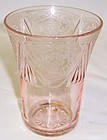 Hazel Atlas Pink ROYAL LACE 4 1/8 In 9 Oz WATER TUMBLER