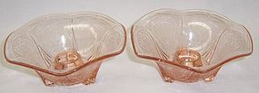 Hazel Atlas Pink ROYAL LACE Ruffled Edge CANDLE HOLDERS