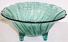 Jeannette Ultramarine SWIRL Depression Glass 3 Leg CANDY DISH