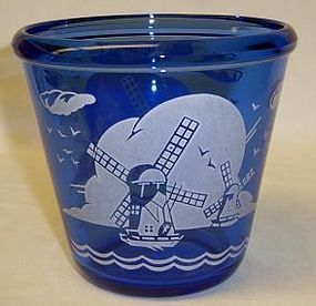 Hazel Atlas Cobalt WINDMILL 4 Inch ICE PAIL With RIM