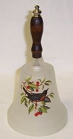 Westmoreland Frosted BIRD Decal BELL with Clapper and Wood Handle